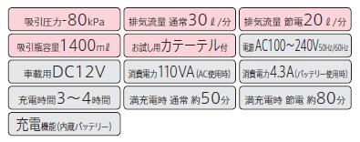 3電源対応吸引器 ミニックDC-? MWD2-1400